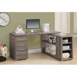 Monarch Specialties L-Shaped Computer Desk With Book Shelf, Dark Taupe