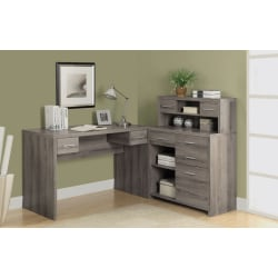Monarch Specialties Left Or Right Workstation, Dark Taupe