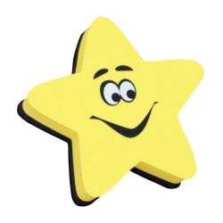 """Ashley Productions Magnetic Whiteboard Erasers, 3 3/4"""", Star, Pack Of 6"""