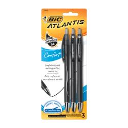 BIC® Atlantis™ Comfort Retractable Ballpoint Pens, Medium Point, 1.0 mm, Black Barrel, Black Ink, Pack Of 3 Pens