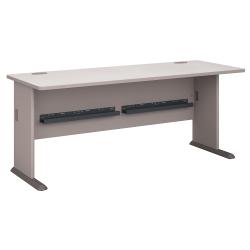 "Bush Business Furniture Office Advantage Desk 72""W, Pewter/White Spectrum, Standard Delivery"