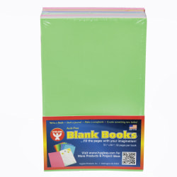 """Hygloss Mighty Brights™ Blank Paperback Books, 5"""" x 8"""", 32 Pages (16 Sheets), Assorted Colors, Pack Of 20"""