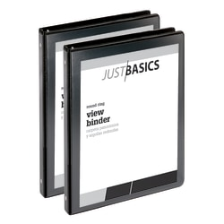 """Just Basics Economy Round-Ring View Binders, 1/2"""" Rings, 61% Recycled, Black, Pack Of 2 Binders"""