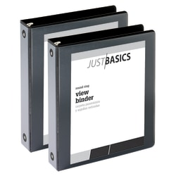 """Just Basics Economy Round-Ring View Binders, 1 1/2"""" Rings, 61% Recycled, Black, Pack Of 2 Binders"""