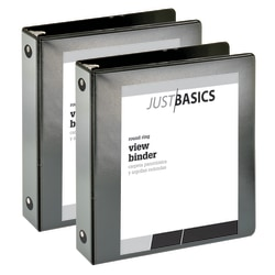 """Just Basics® Economy View 3-Ring Binder, 2"""" Round Rings, 61% Recycled, Black, Pack Of 2"""