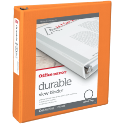 "Office Depot® Brand Durable View 3-Ring Binder, 1 1/2"" Round Rings, 61% Recycled, Orange"