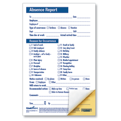 """ComplyRight Absence Reports, Compact 2-Part, 5 1/2"""" x 8 1/2"""", Pack Of 50"""