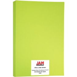 """JAM Paper® Cover Card Stock, 11"""" x 17"""", 65 Lb, 30% Recycled, Lime Green, Pack Of 50 Sheets"""