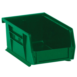 "Office Depot® Brand Plastic Stack & Hang Bin Boxes, Small Size, 9 1/4"" x 6"" x 5"", Green, Pack Of 12"