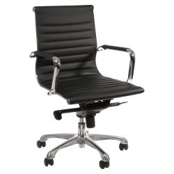 Lorell® Modern Bonded Leather Mid-Back Chair, Black