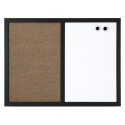 """FORAY™ Magnetic Dry-Erase/Cork Combo Board, Cork/Steel, 22"""" x 18"""", Tan/White, Black Wood Wrapped Frame"""