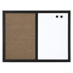 "Realspace™ Magnetic Dry-Erase & Cork Bulletin Board, 18"" x 24"", Black Frame"