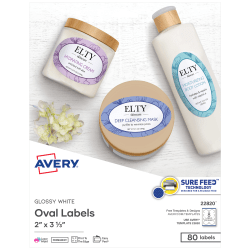 """Avery® Easy Peel® Print-To-The-Edge Permanent Inkjet/Laser Oval Labels, 22820, 2"""" x 3 1/3"""", Glossy White, Pack Of 80"""