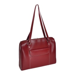 "McKleinUSA Glenview Leather Ladies' Laptop Case With 15.4"" Laptop Pocket, Red"