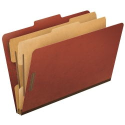 Pendaflex® Pressboard Classification Folder, 2 Dividers, 6 Partitions, 2/5 Cut, 30% Recycled, Legal Size, Red, Box Of 10