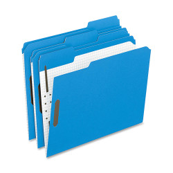 Oxford® 1/3-Cut Color Fasteners Folders, Letter Size, Blue, Box Of 50