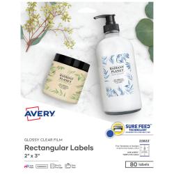 "Avery® Easy Peel® TrueBlock® Print-To-The-Edge Inkjet/Laser Labels, Rectangular, 22822, 2"" x 3"", Glossy Clear, Pack Of 80"