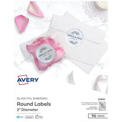 """Avery® Easy Peel® Emobossed Labels, 22824, 2"""" Diameter, Silver, Pack Of 96"""