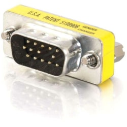 C2G HD15 VGA M/M Mini Gender Changer (Coupler) - 1 x HD-15 Male - 1 x HD-15 Male - Silver, Yellow