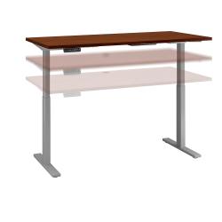 "Bush Business Furniture Move 60 Series 60""W x 30""D Height Adjustable Standing Desk, Hansen Cherry/Cool Gray Metallic, Standard Delivery"