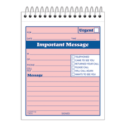 """Adams® """"While You Were Out"""" Message Pad, 4 1/4"""" x 5 1/2"""", 50 Sheets, Pink"""