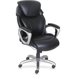 Lorell® Wellness by Design® Air Tech Executive Bonded Leather Chair, Black