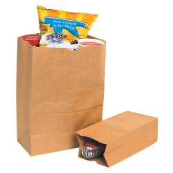 "Partners Brand Grocery Bags, 18""H x 8 1/4""W x 5 1/4""D, Kraft, Case Of 500"