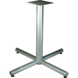 """Lorell Hospitality Collection X-Leg Table Base - Metallic Silver X-shaped Base - 30"""" Height x 42"""" Width x 42"""" Depth - Assembly Required"""