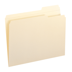 Smead® File Folders, Reinforced Tab, 1/3 Cut, Right Position, Letter Size, Manila, Box Of 100