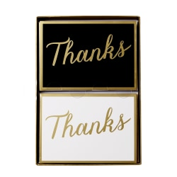 "Sincerely A Collection by C.R. Gibson® Double-Pack Note Cards With Envelopes, 4 7/8"" x 3 1/2"", B/W Thanks, Box Of 16"