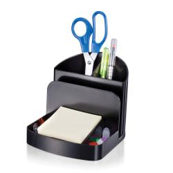 Brenton Studio™ 30% Recycled 3-Compartment Deluxe Desk Organizer, Black