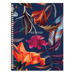 """Office Depot® Brand Fashion Weekly/Monthly Academic Planner, 8-1/2"""" x 11"""", Floral, July 2021 To June 2022, ODUS2033-031"""