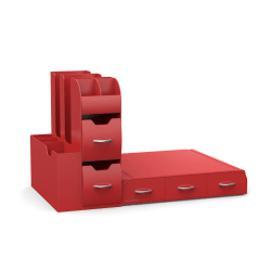 Mind Reader Combo 2-Piece Drawer And Condiment Organizer, Red