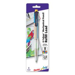 Pentel Arts® 8 Colour™ Mechanical Pencil, 2.0mm, Clear Barrel/Assorted Clip Colors