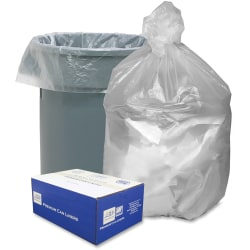 """Webster High Density Commercial Can Liners - Medium Size - 30 gal - 30"""" Width x 37"""" Length x 0.31 mil (8 Micron) Thickness - High Density - Natural - Resin - 500/Carton - Garbage"""
