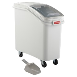 """Rubbermaid® Commercial ProSave Mobile Ingredient Bin, 82.28 Quarts, 28""""H x 13 1/8""""W x 29 1/4""""D, Clear/White"""