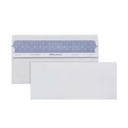 """Office Depot® Brand Lift & Press™ Premium Security Envelopes, #10, 4-1/8"""" x 9-1/2"""", 100% Recycled, White, Pack Of 100 Envelopes"""