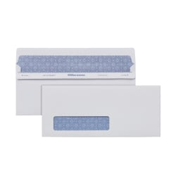 Office Depot® Brand #10 Lift & Press™ Premium Security Envelopes, Left Window, Self Seal, 100% Recycled, White, Box Of 500