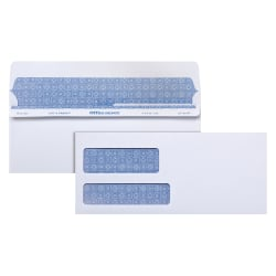 "Office Depot® Brand 100% Recycled Lift & Press™ Premium Double-Window Envelopes, #9, 3 7/8"" x 8 7/8"", White, Pack Of 500"