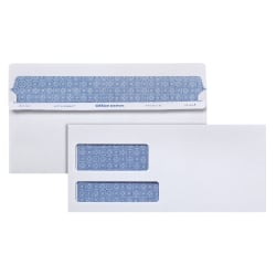 Office Depot® Brand #10 Lift & Press™ Premium Security Envelopes, Double-Window, Self Seal, 100% Recycled, White, Box Of 500