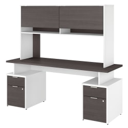 "Bush Business Furniture Jamestown Desk With 4 Drawers And Hutch, 72""W, Storm Gray/White, Standard Delivery"