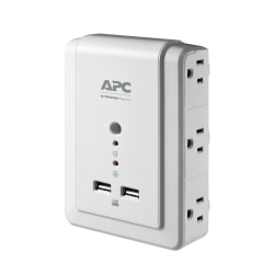 APC SurgeArrest 6-Outlet 2-USB Wall-Mounted Surge Protector, White, P6WU2