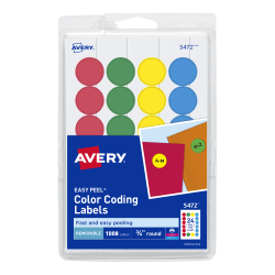 """Avery® Removable Round Color-Coding Labels, 5472, 3/4"""" Diameter, Assorted Colors, Pack Of 1,008"""