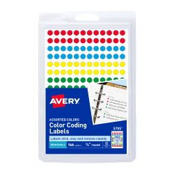 """Avery® Removable Round Color-Coding Labels, 5795, 1/4"""" Diameter, Assorted Colors, Pack Of 768"""