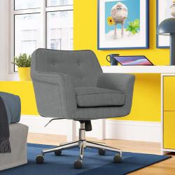 Serta® Ashland Mid-Back Office Chair, Winter River Gray/Chrome