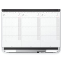 "Quartet® Prestige™ 2 Total Erase® 3 Month Calendar Dry-Erase Whiteboard, 36"" x 24"", Aluminum Frame With Graphite Finish"