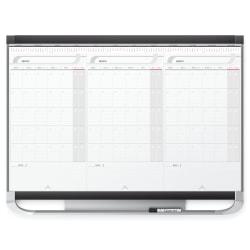 "Quartet® Prestige™ 2 Total Erase® 3 Month Calendar, 36"" x 24"", Graphite Aluminum Frame"
