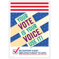 """ComplyRight™ Get Out The Vote Posters, Your Vote Is Your Voice, English, 10"""" x 14"""", Pack Of 3 Posters"""