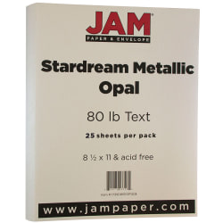 """JAM Paper® Printer Paper, Letter Size (8 1/2"""" x 11""""), 80 Lb, Opal Ivory Stardream, Ream Of 25 Sheets"""