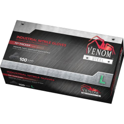 Venom Steel® Industrial Powder-Free Nitrile Gloves, Large, Black, Box Of 100